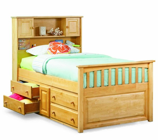 Natural Maple Wood Twin Bed w/4 Drawers Storage Chest AP8526045