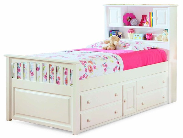 White Wood Captains Twin Bed w/Four Drawers Storage Chest AP8526042