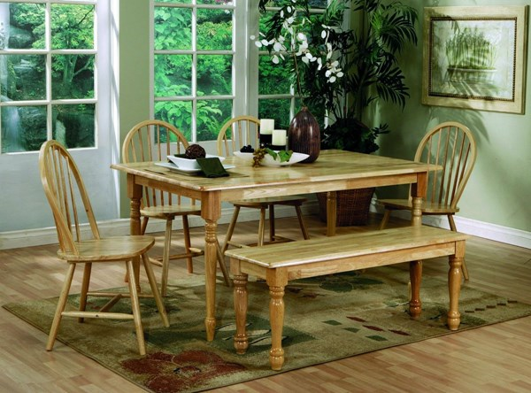 Casual Natural Wood Solid Top 6pc Dining Set CST-4361SET