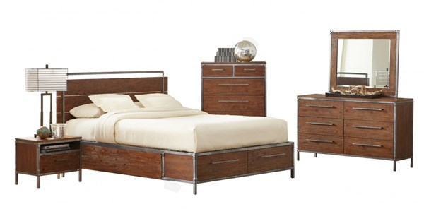 Arcadia Contemporary Weathered Acacia Wood Master Bedroom Set CST-2038-BR