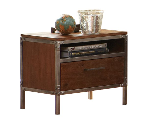 Arcadia Contemporary Weathered Acacia Wood Nightstand CST-203802