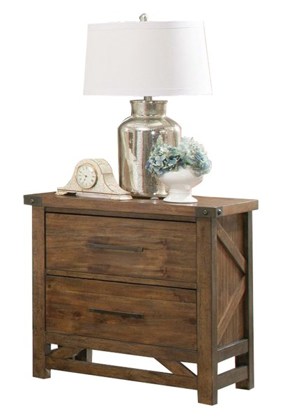 Bridgeport Rustic Natural Wood 2 Drawers Night Stand CST-204172