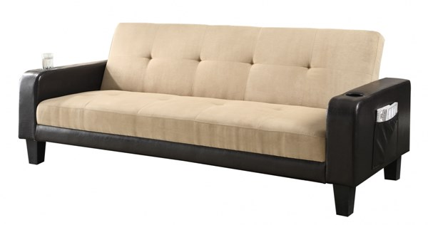 Contemporary Khaki Brown Leather Like Vinyl Sofa Bed CST-300295
