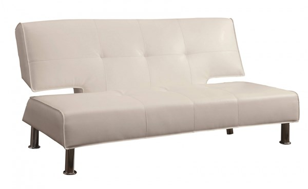 Contemporary White Faux Leather Metal Sofa Bed CST-300296