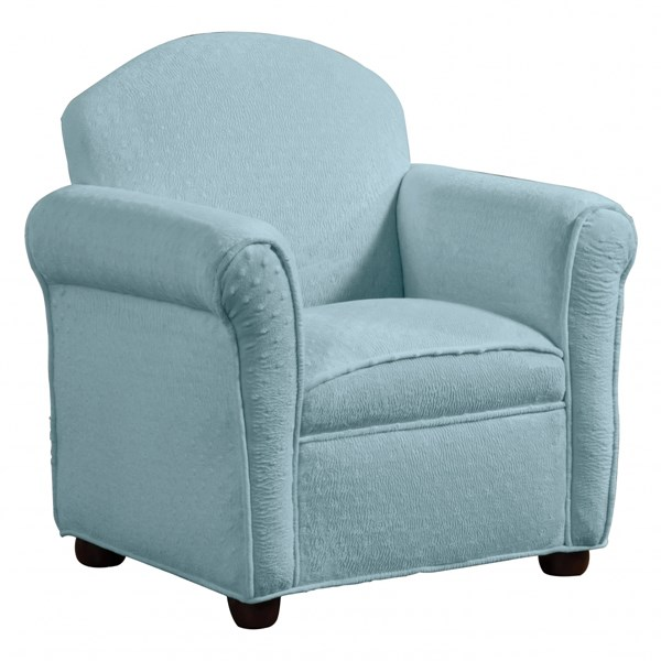 Isaac Traditional Blue Wood Fabric Round Kids Chair CST-405025