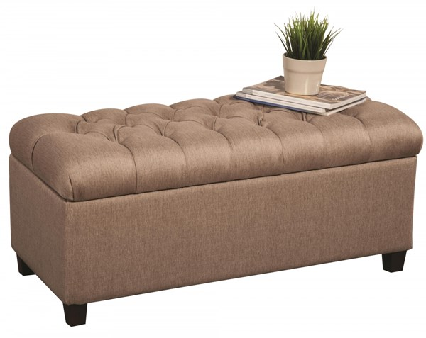 Taupe Fabric Wood Storage Bench w/Tufted Seat CST-500064