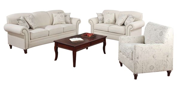 Norah Classic Oatmeal Wood Fabric 3pc Living Room Set CST-502511-S