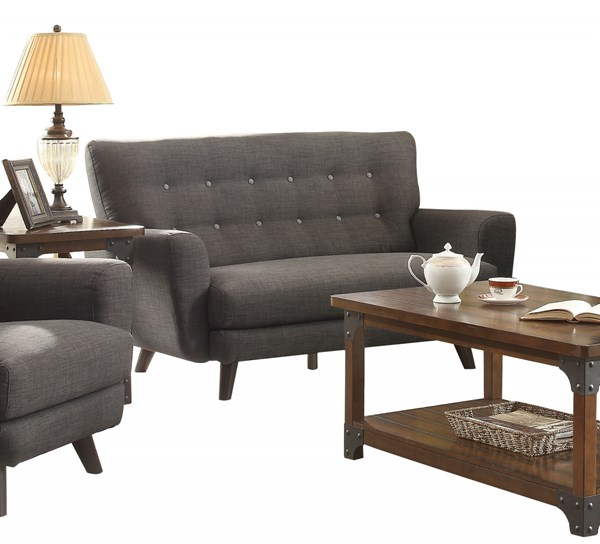 Maguire Modern Charcoal Fabric Tufted Back Loveseat The Classy Home