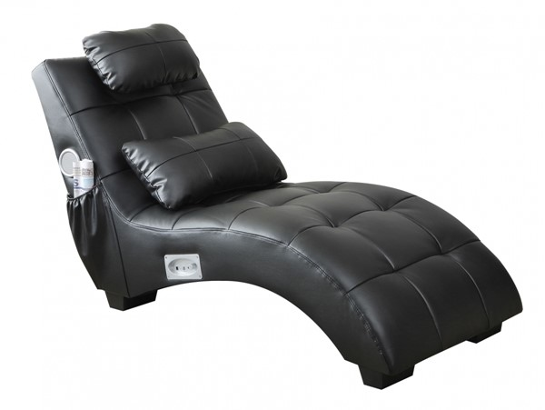 Black Faux Leather Armless & Pillow Back Chaise CST-550018
