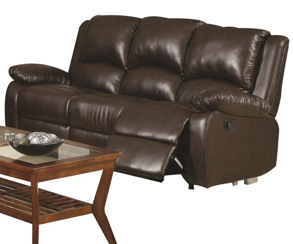 Boston Casual Brown Leatherette Reclining Sofa CST-600971