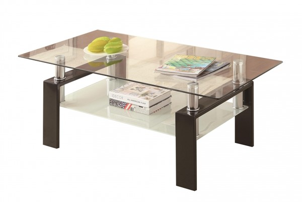 Coaster Furniture Black Metal Glass Coffee Table CST-702288