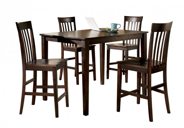 Hyland Contemporary Red Brown Wood 5pc Dining Room Counter Table Set D258-223
