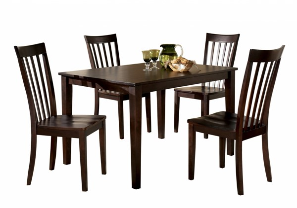 Hyland Contemporary Red Brown Wood 5pc Dining Room Table Set D258-225