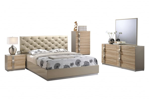 Grace Champagne High Gloss Wood PU 5pc Bedroom Set w/King Platform Bed GL-GRACE-125-BR-S1