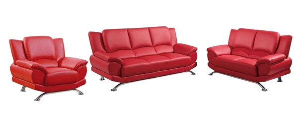U9908 Series Natalie Red Bonded Leather 3pc Living Room GL-U9908-M-LR-S3