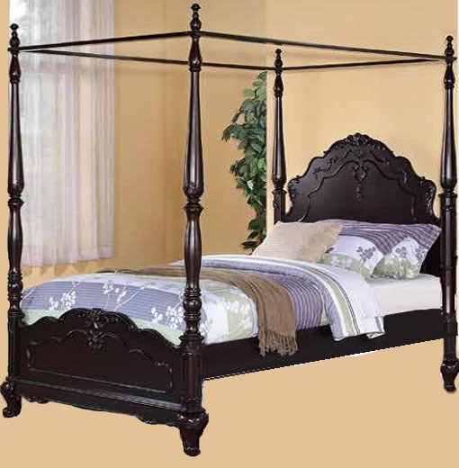 Cinderella Cherry Wood 2pc Kids Bedroom Set W/Full Canopy Poster Bed HE-1386FCP-CH-S3