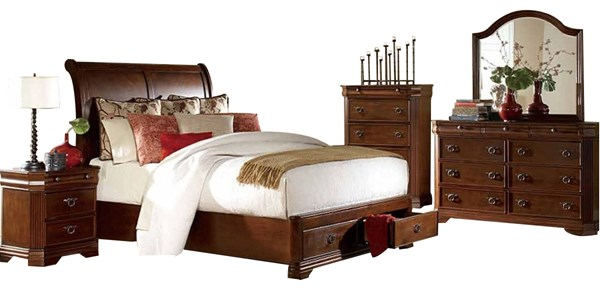 Karla Cherry Wood Glass 2pc Bedroom Set W/King Storage Bed HE-1740PL-1-set1