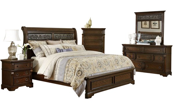 Calloway Park Classic Cherry Wood Master Bedroom Set HE-1801N-BR