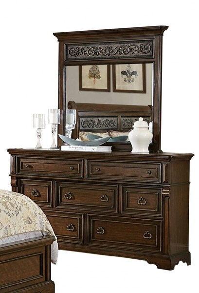 Calloway Park Warm Cherry Faux Metal Wood Glass Dresser & Mirror HE-1801N-DRMR