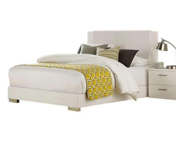 Linnea Contemporary White Bi-Cast Vinyl Full Bed HE-1811FW-1