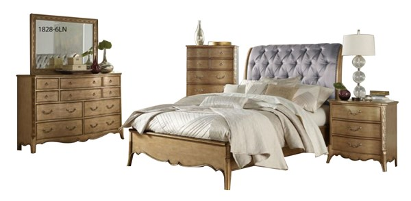 Chambord Champagne Gold Wood Faux Silk 2pc Bedroom Set W/King Bed HE-1828-BR-S2