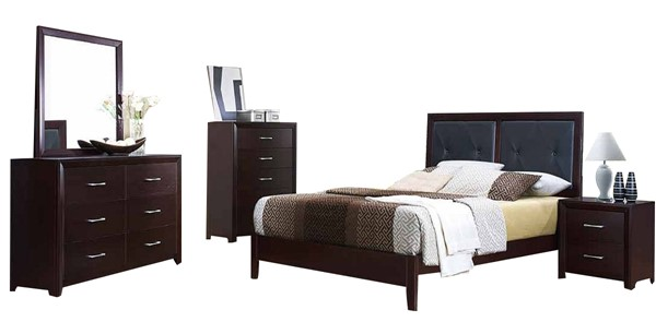 Edina Espresso Wood Vinyl Glass 2pc Bedroom Set W/Full Bed HE-2145-BR-S4