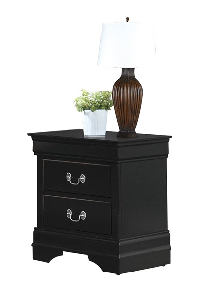 Mayville Traditional Black Wood Two Drawers Handle Night Stand HE-2147BK-4