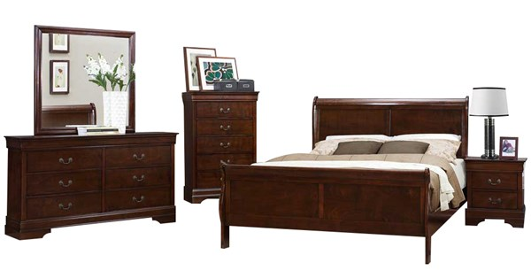 Mayville Traditional Brown Cherry Wood 2pc Bedroom Set W/Full Bed HE-2147F-KBR-S1