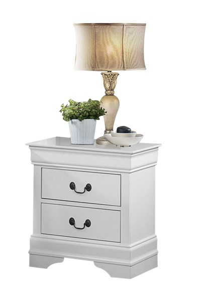 Mayville Traditional White Wood Two Drawers Handle Night Stand HE-2147W-4