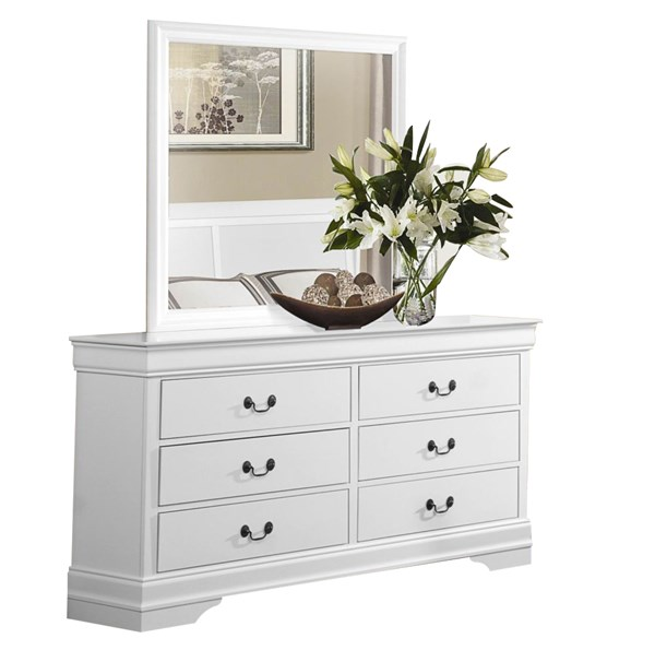 Mayville Traditional White Wood Glass Six Drawers Dresser & Mirror HE-2147W-DRMR