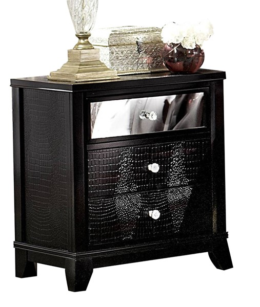 Jacqueline Black Wood Glass Drawer Night Stand HE-2299-4