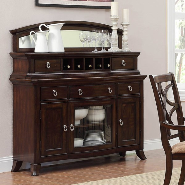 Keegan Rich Brown Cherry Wood Server With Mirror HE-2546-40-40M
