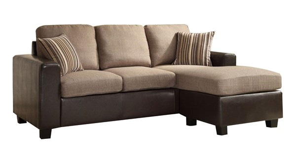 Slater Modern Dark Brown Fabric Bi-Cast Vinyl Reversible Sofa Chaise HE-8401-3SC