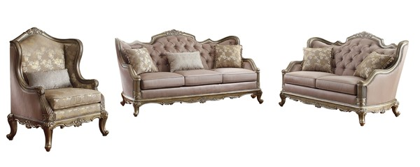 Fiorella Old World Silver Gold Wood Faux Silk Living Room Set HE-8412-LR