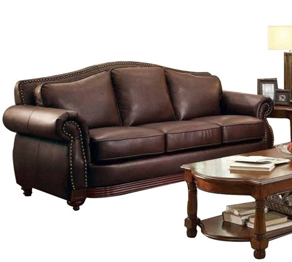 Midwood Traditional Dark brown Wood Bonded Leather Sofa HE-9616BRW-3