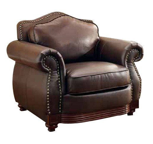 Midwood Traditional Dark brown Wood Bonded Leather Chair HE-9616BRW-1