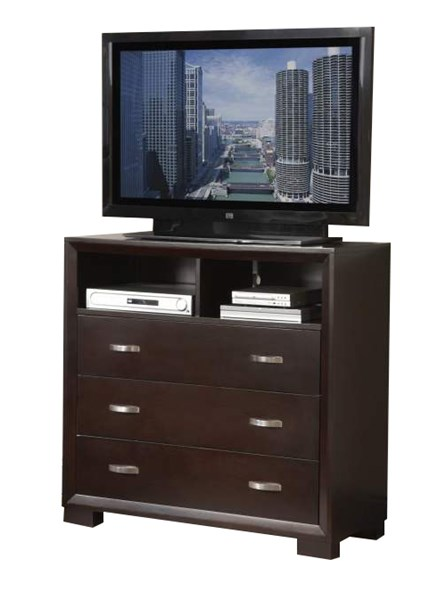Astrid Contemporary Espresso Wood Three Drawers Two Shelves TV Chest HE-1313-11
