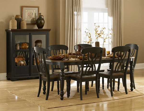 Ohana Casual Antique Black Warm Cherry Wood Dining Room Set HE-1393-DT