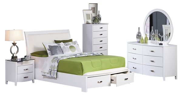 Lyric Contemporary White Wood Glass Master Bedroom Set HE-1737