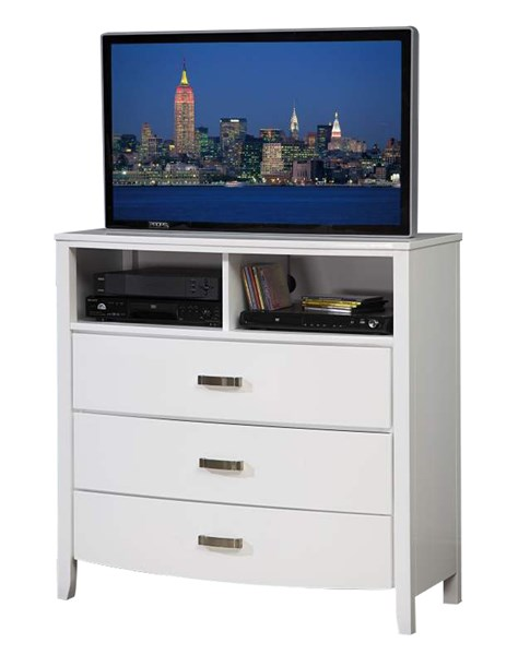 Lyric Contemporary White Wood Three Drawers Handle TV Chest HE-1737W-11