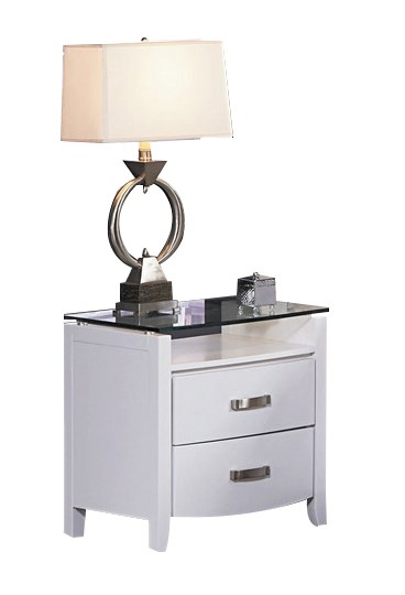 Lyric Contemporary White Wood Glass Top Two Drawers Night Stand HE-1737W-4