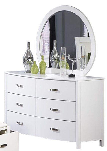 Lyric Contemporary White Wood Glass Six Drawers Dresser And Mirror HE-1737W-5-HE-1737W-6