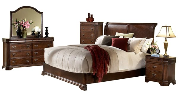 Karla Traditional Cherry Wood Master Bedroom Set HE-1740