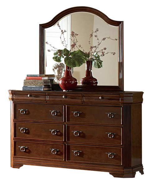 Karla Traditional Cherry Wood Glass Six Drawers Dresser And Mirror HE-1740-5-HE-1740-6