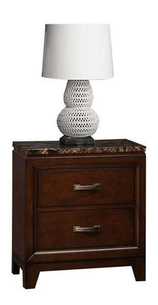 Ottowa Transitional Brown Cherry Wood Faux Marble Top Night Stand HE-2112-4