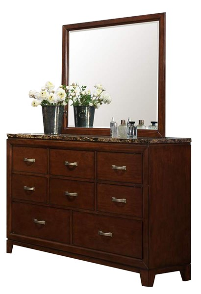 Ottowa Transitional Brown Cherry Wood Faux Marble Top Dresser HE-2112-5