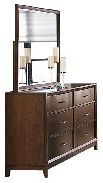 Kasler Medium Walnut Wood Metal Glass Dresser And Mirror HE-2135-5-HE-2135-6