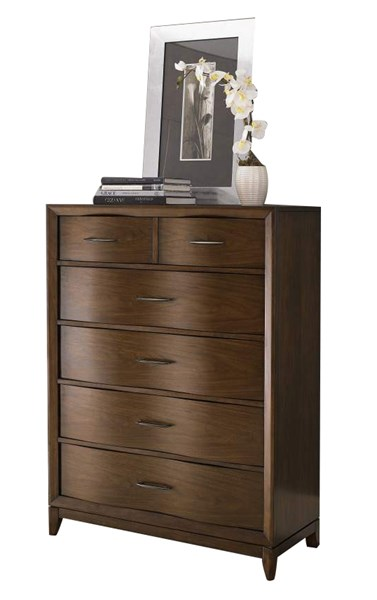 Kasler Contemporary Medium Walnut Wood Storage Drawers Chest HE-2135-9