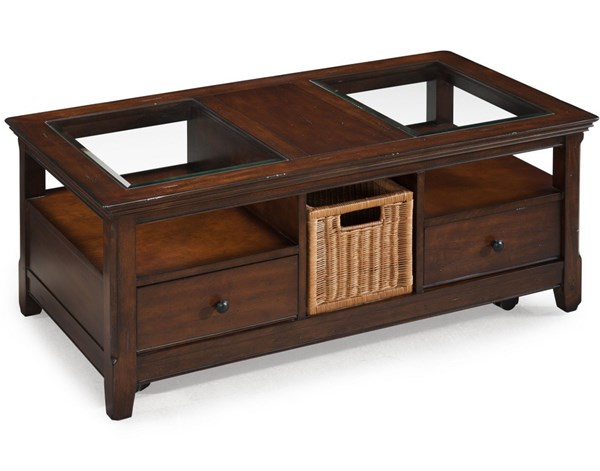 Tanner Casual Tobacco Wood Glass Storage Cocktail Table MG-T1297-50