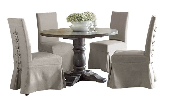 Muses Dove Grey Rubberwood 5pc Dining Room Set w/Parson Chairs PRG-P836-DR-S2